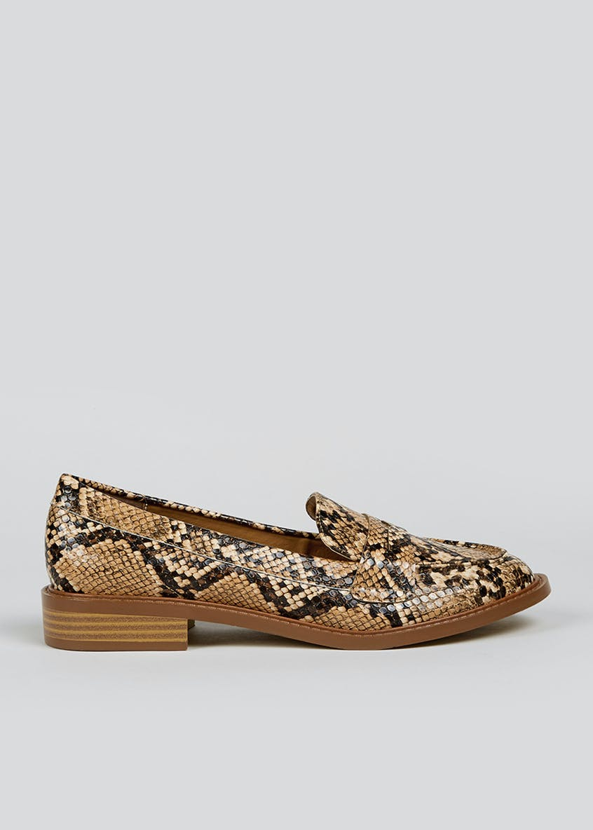 Faux Snake Skin Penny Loafers