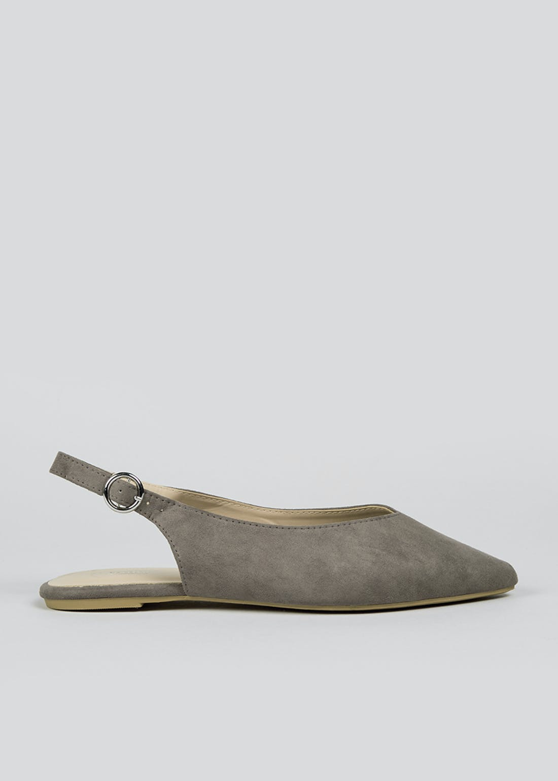 Grey Sling Back Pointed Shoes