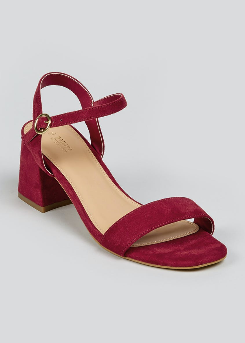 Wide Fit Burgundy Heeled Strappy Sandals