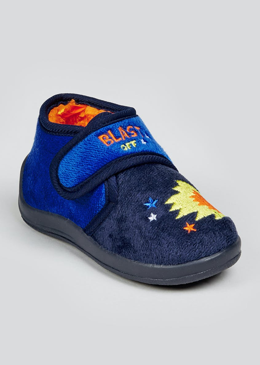 Kids Navy Rocket Co-Ord Slippers (Younger 4-12)