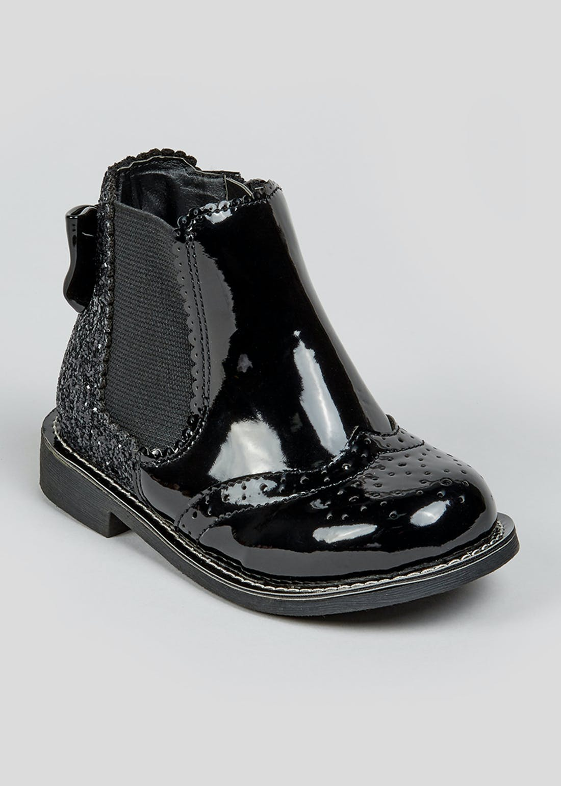 Girls Black Patent Glitter Boots (Younger 4-12)