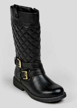 Girls Quilted Knee Boots (Younger 4-12)