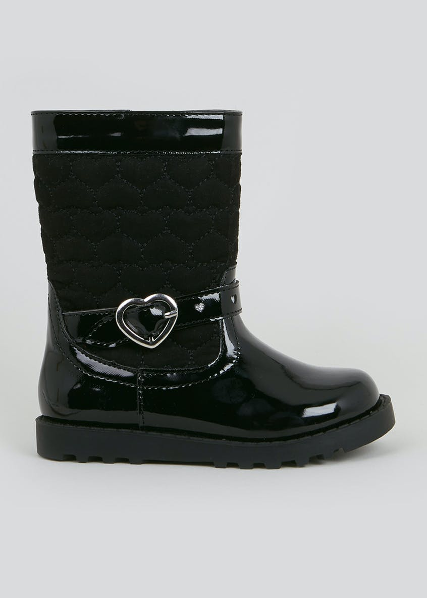 Girls Black Quilted Knee Boots (Younger 4-12)