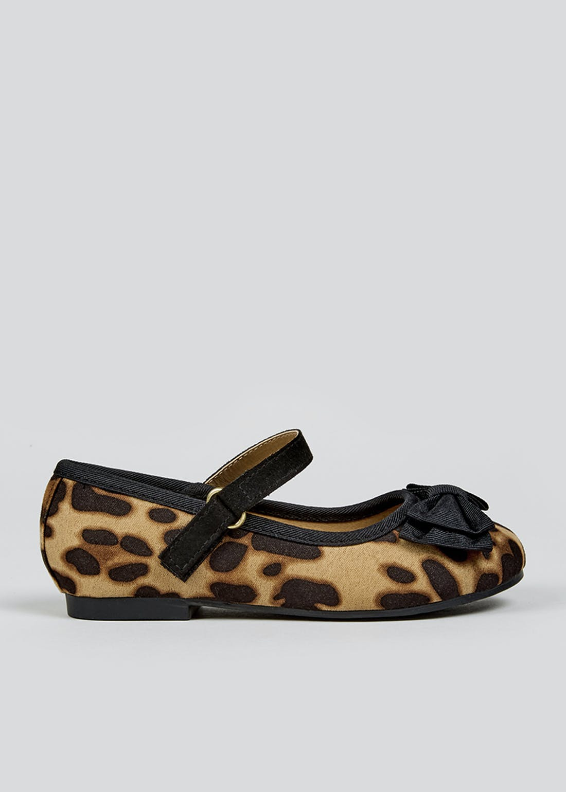 Girls Leopard Print Bow Ballet Shoes (Younger 4-12)
