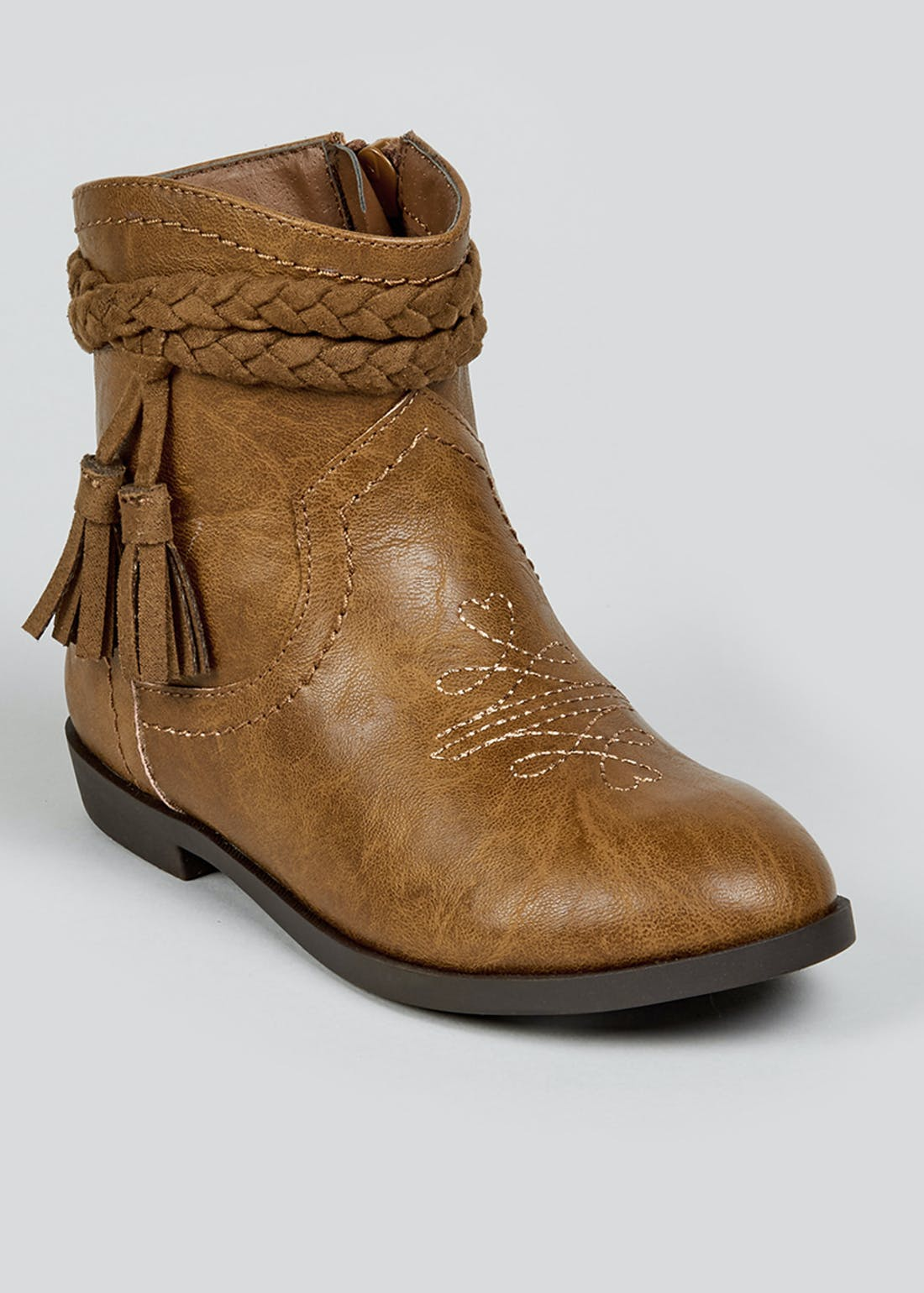 Girls Tan Western Ankle Boots (Younger 4-12)