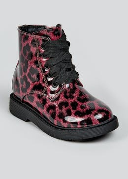 Girls Leopard Biker Boots (Younger 4-12)