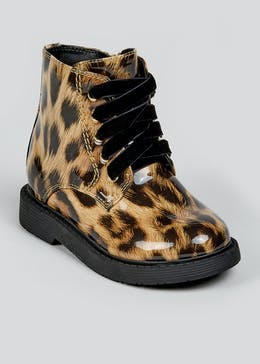 Girls Tan Leopard Biker Boots (Younger 4-12)