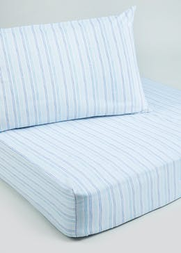 Kids 100% Cotton Striped Fitted Sheet & Pillowcase Set