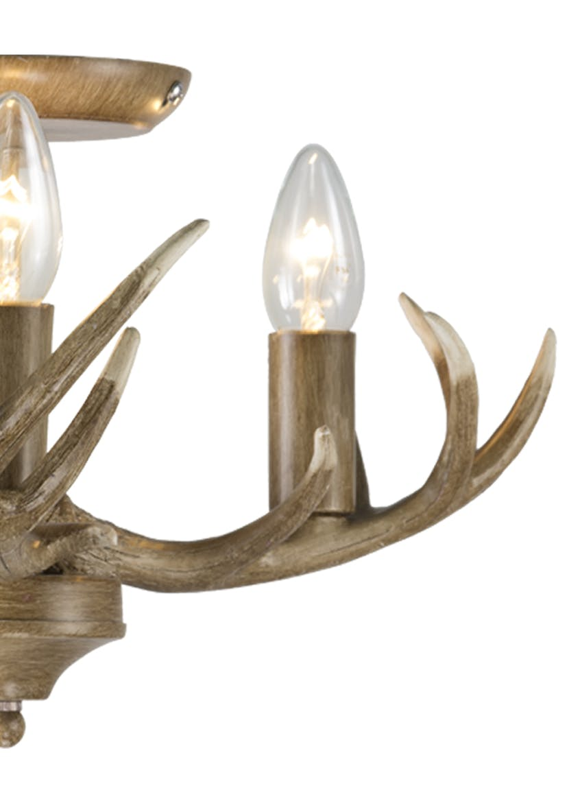 Antler 3 Arm Flush Light (35cm x 25cm)