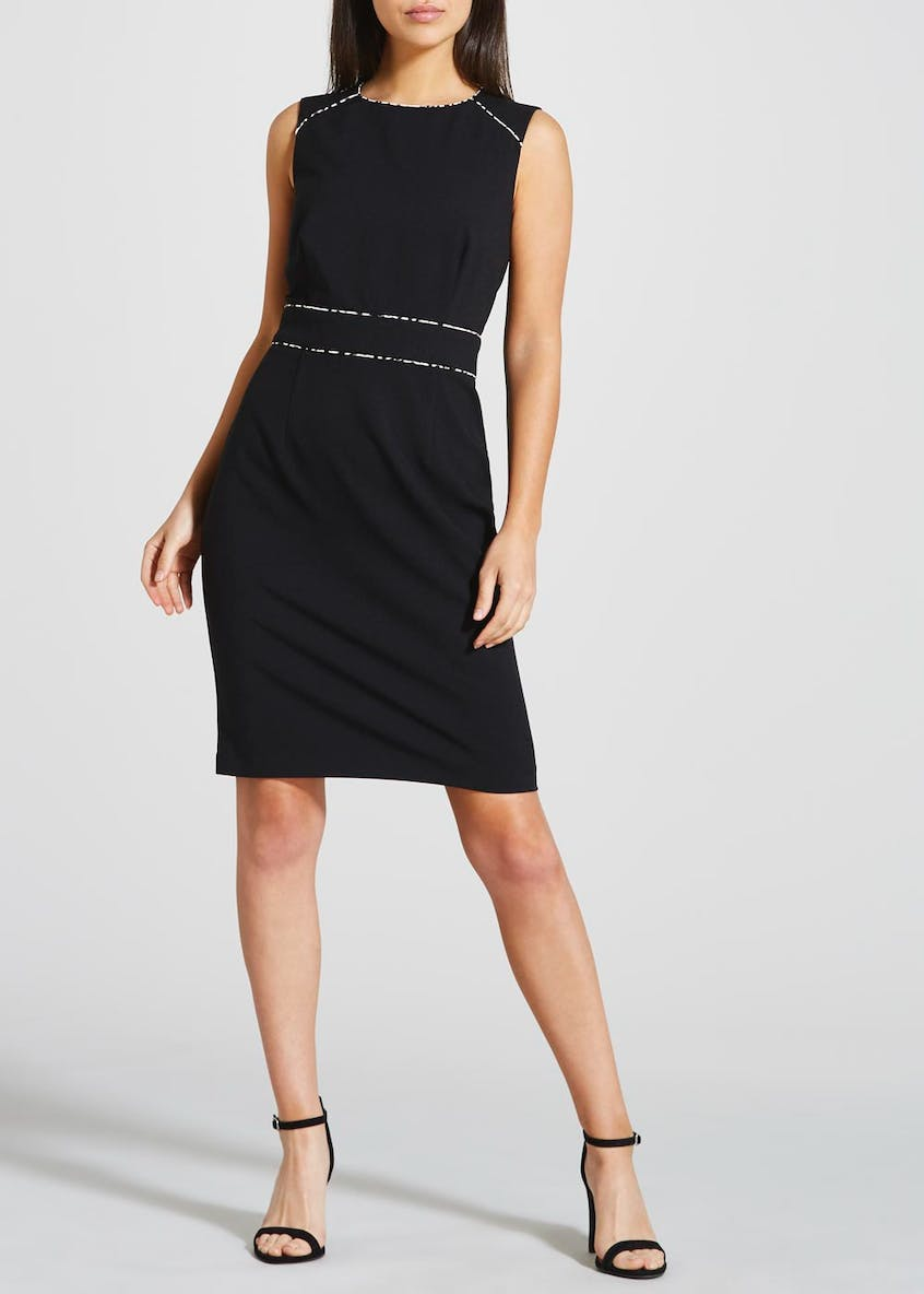 Black Sleeveless Bi-Stretch Suit Dress