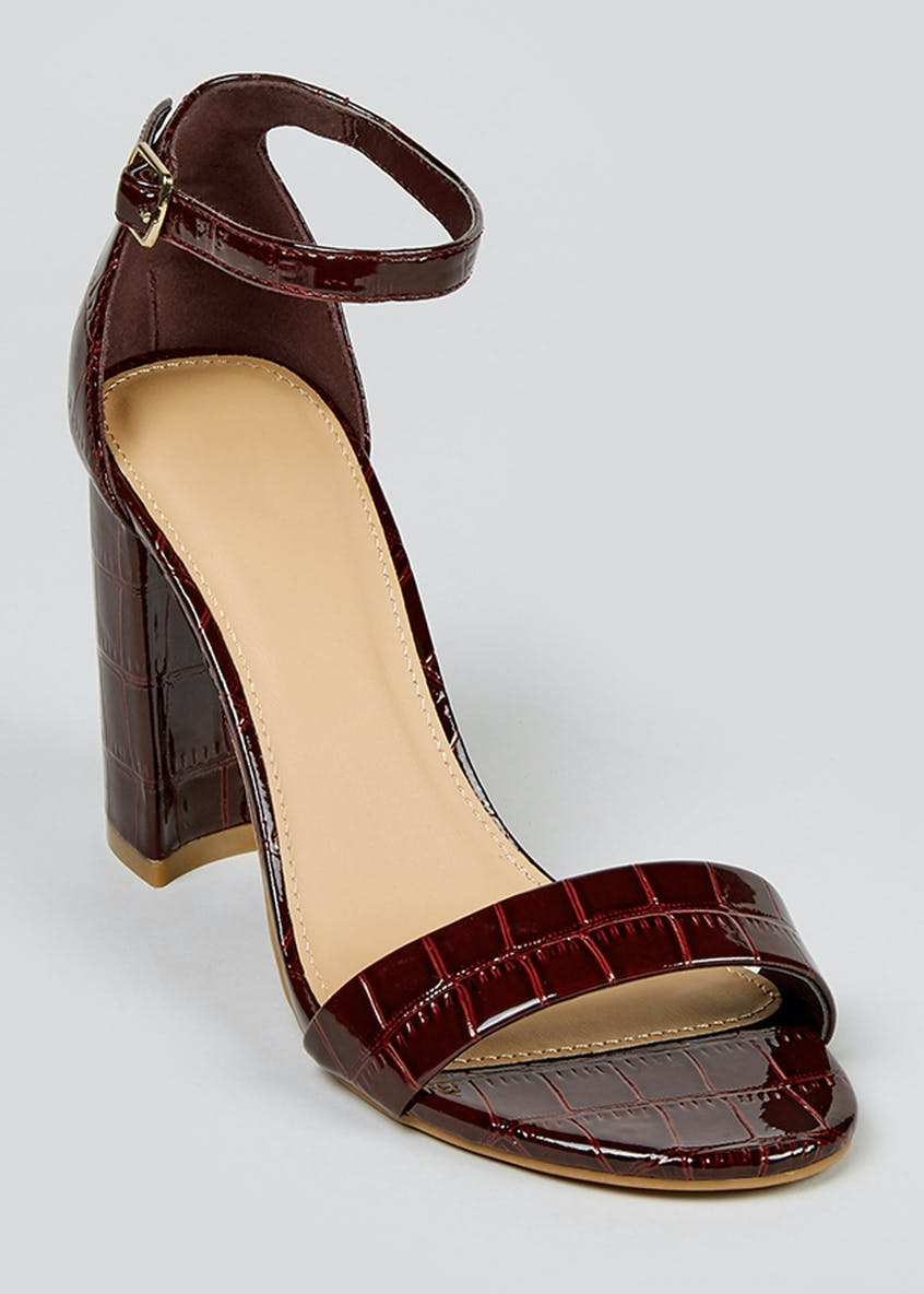 Burgundy Mock Croc Heeled Sandals