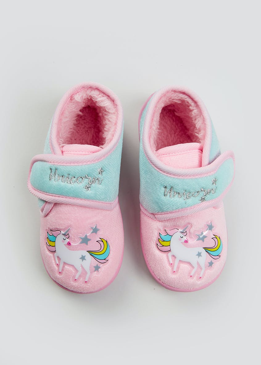 Kids Pink Unicorn Co-Ord Slippers (Younger 4-12)
