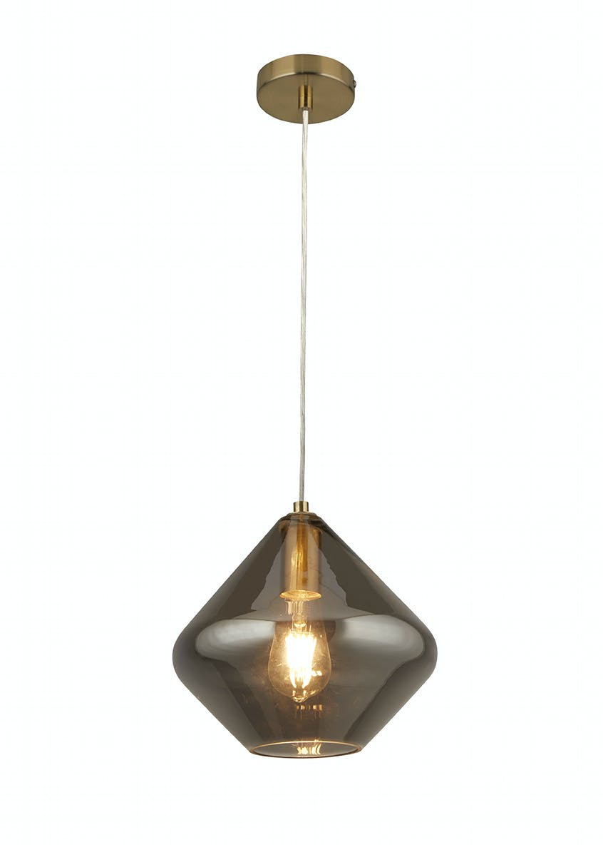 Edie Smoked Glass Pendant Drop Light (H120cm x W25cm)