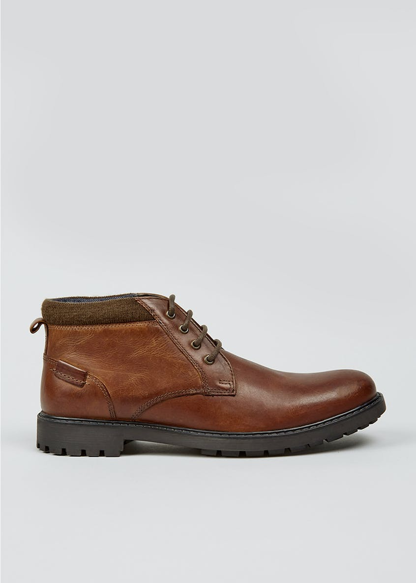 Brown Real Leather Lace Up Chukka Boots