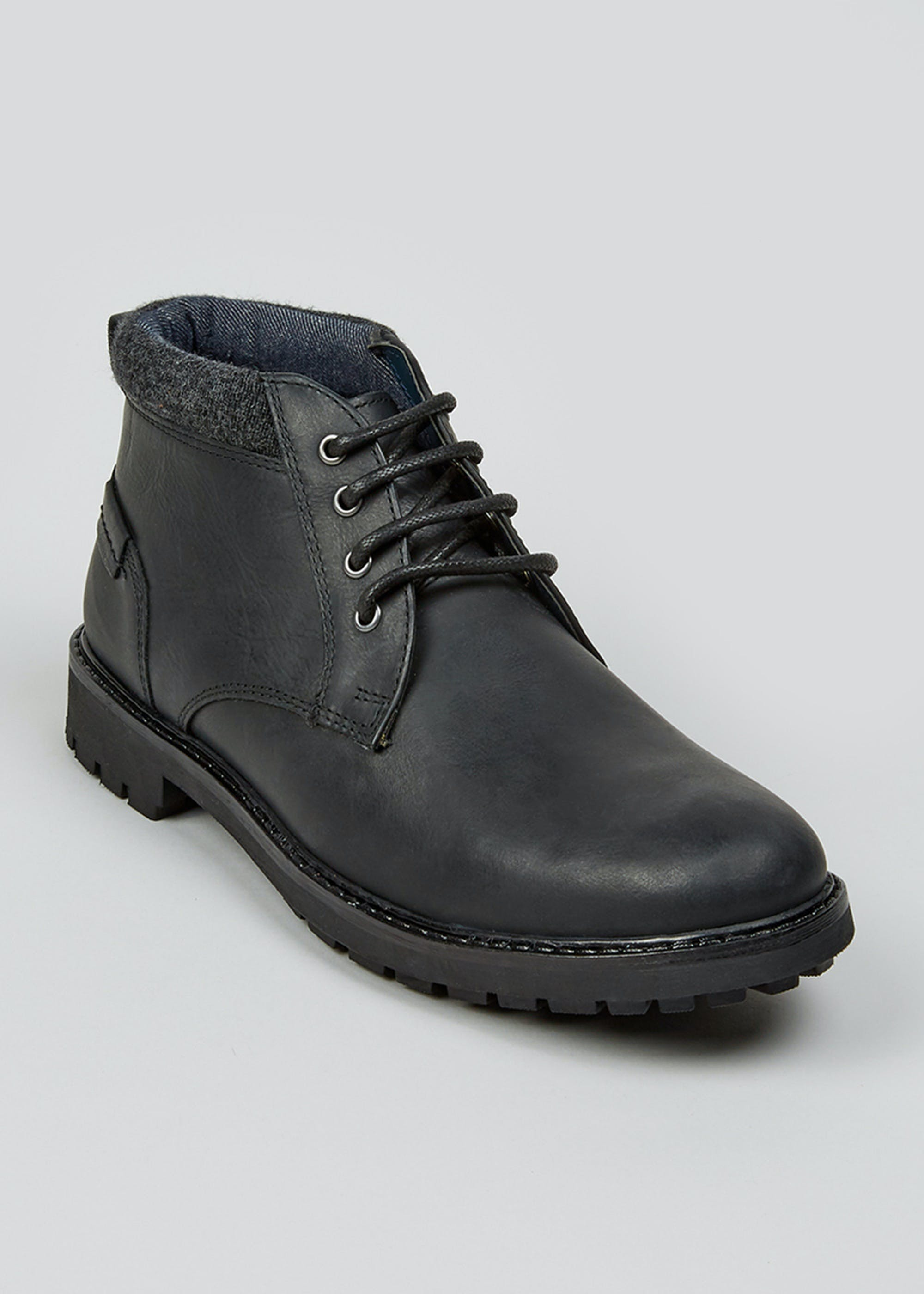 Black Real Leather Chukka Boots Black STm23x