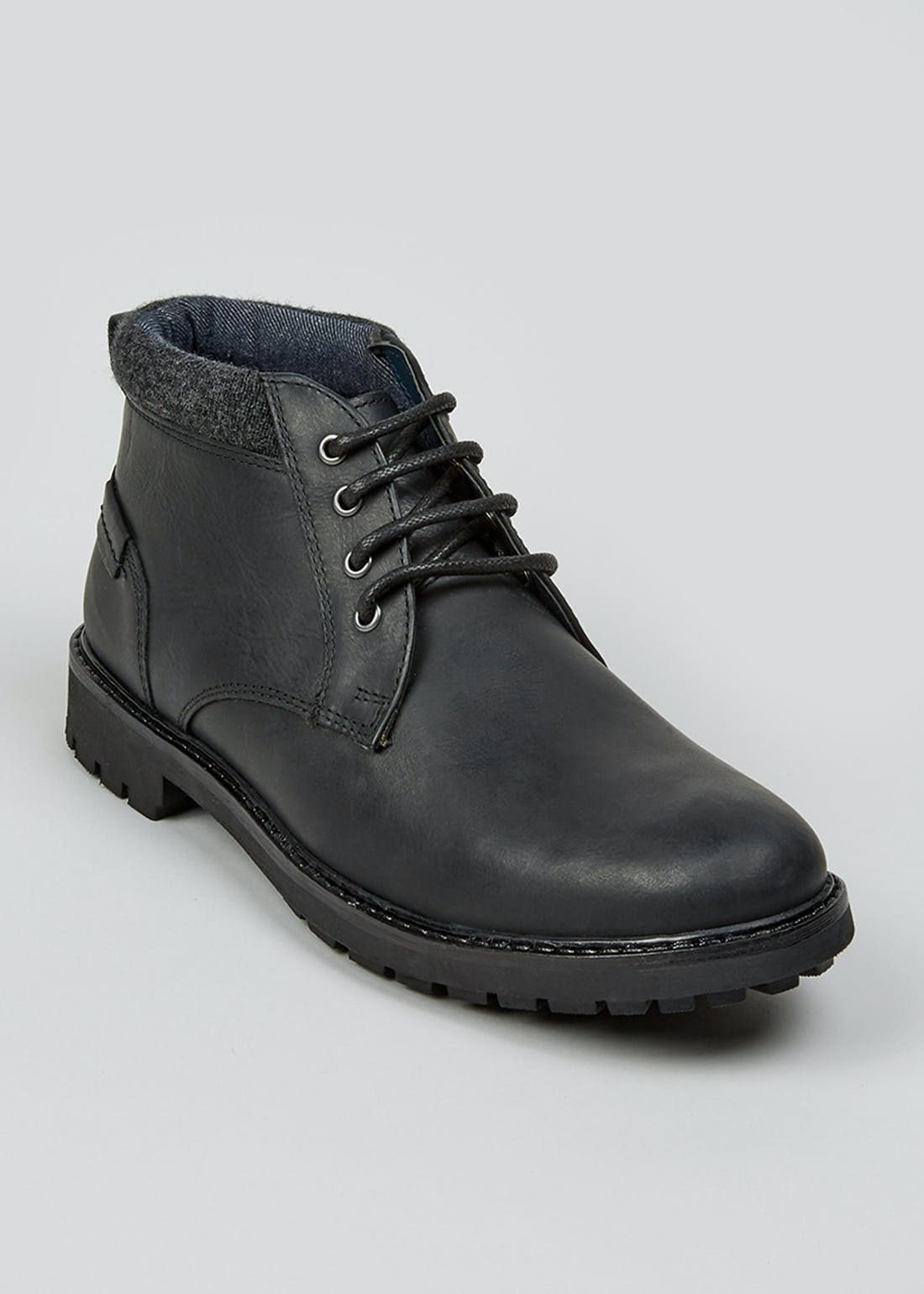 Black Real Leather Chukka Boots