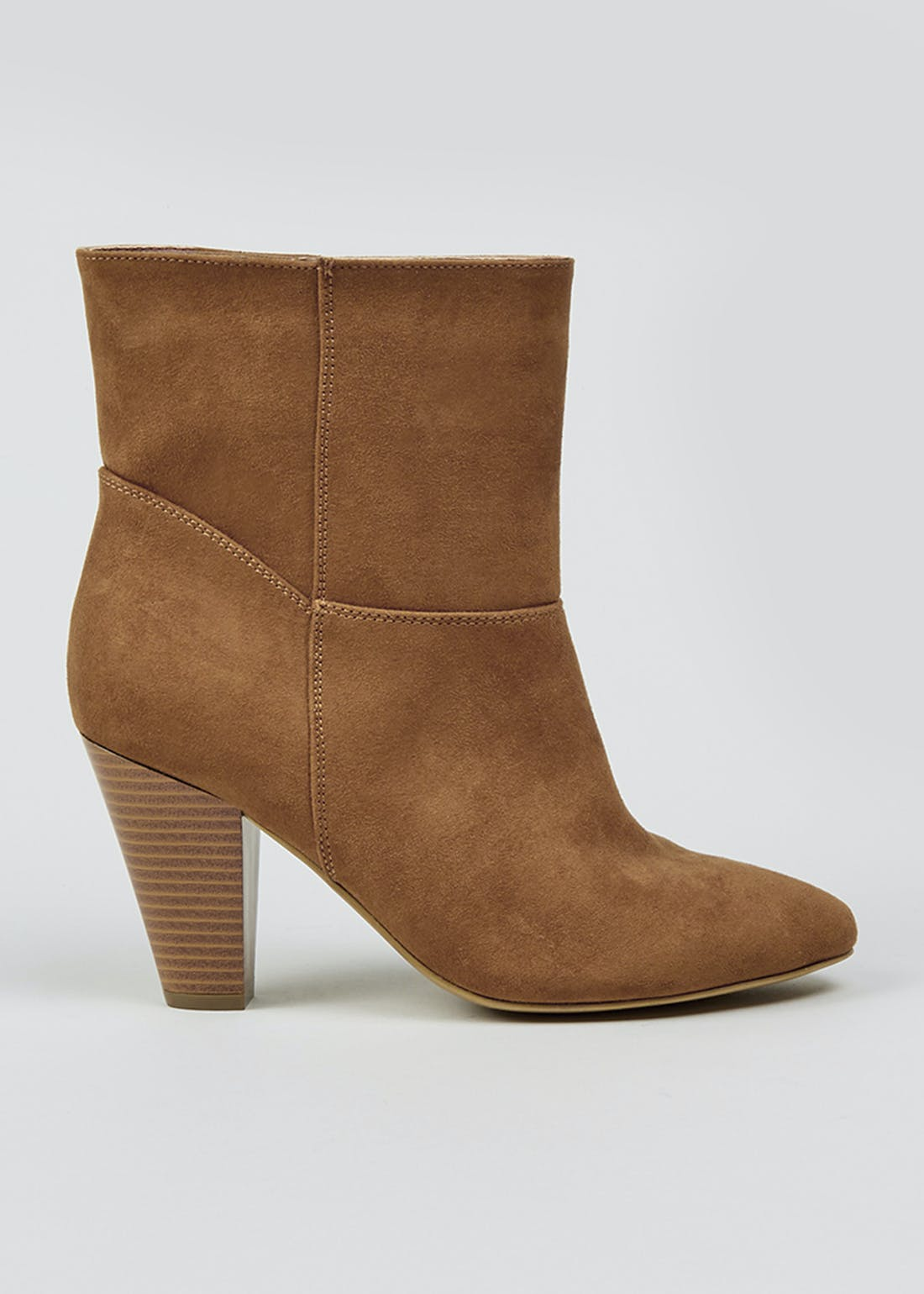 Tan Slouch Heeled Ankle Boots
