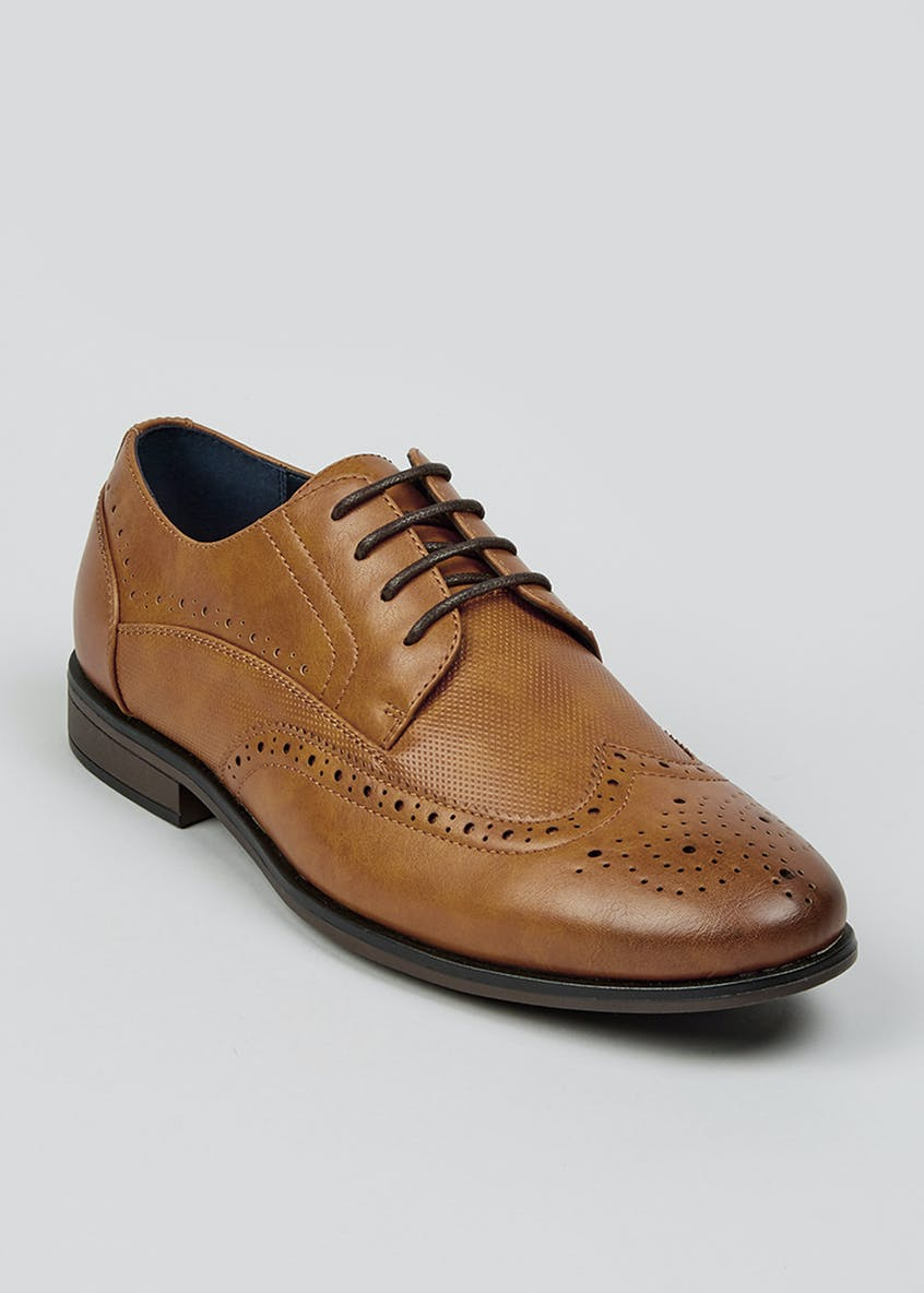 Tan PU Formal Brogues