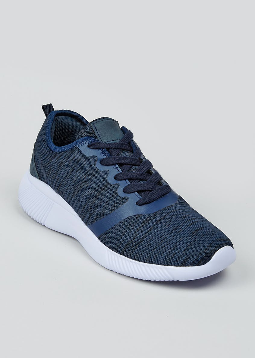 US Athletic Navy Knitted Trainers