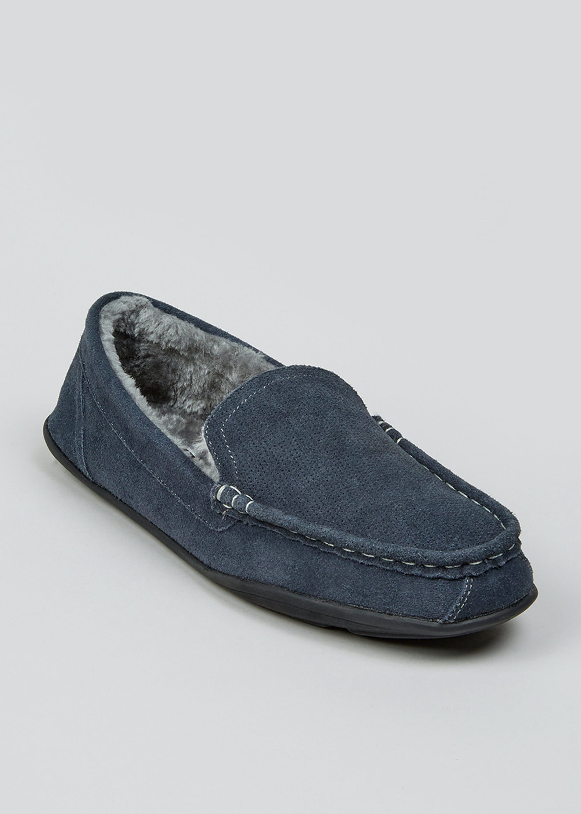 Grey Real Suede Moccasin Slippers Grey U3ATxi