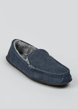 Grey Real Suede Moccasin Slippers
