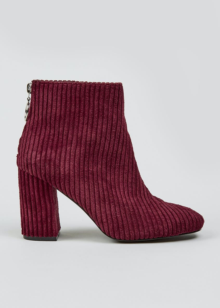 Burgundy Cord Circle Zip Ankle Boots