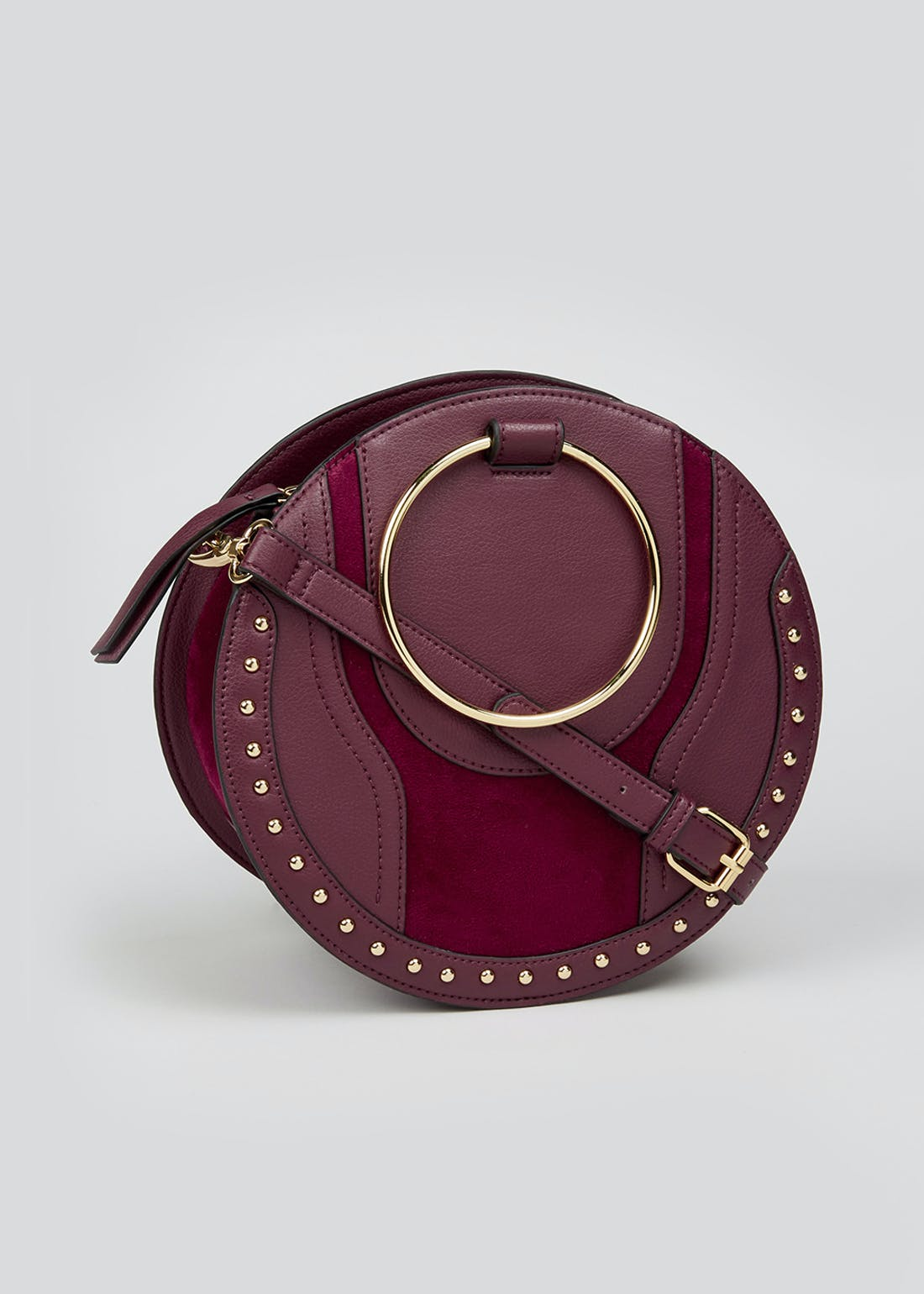 Ring Handle Studded Round Bag