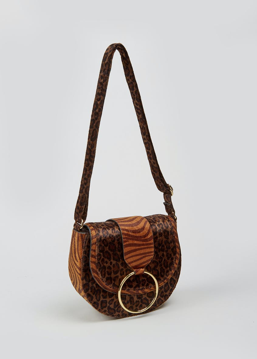 Faux Animal Skin Saddle Bag