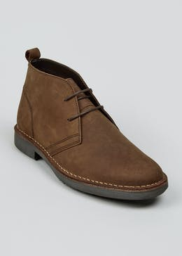 Brown Real Leather Desert Boots