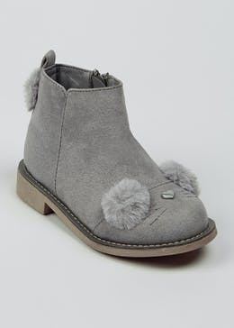 Girls Grey 3D Bunny Boots (Younger 4-12)