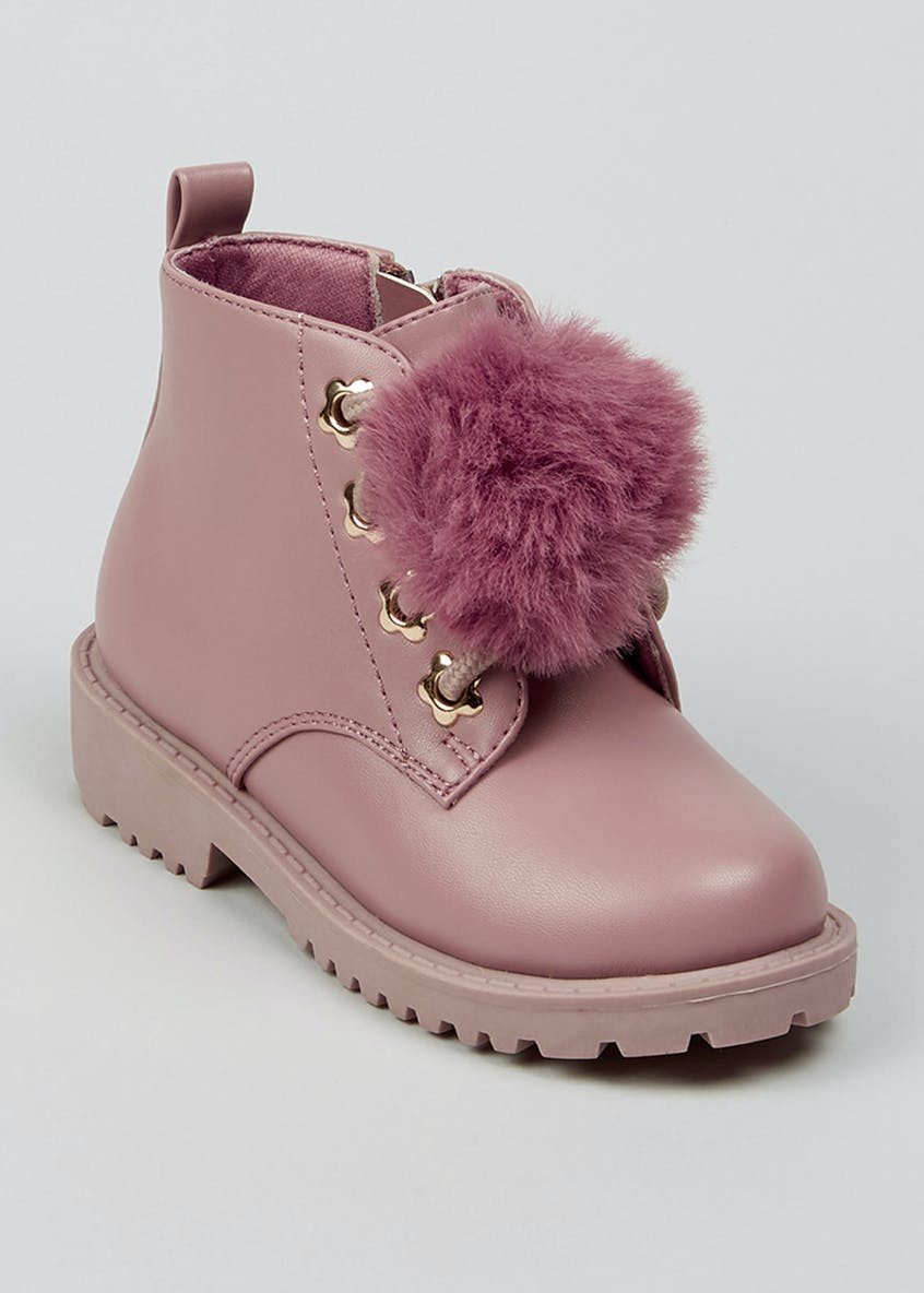 Girls Pink Pom Pom Boots (Younger 4-12)