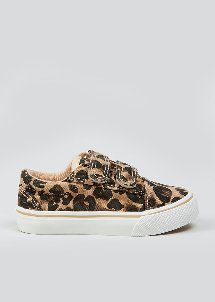 Girls Leopard Print Canvas Trainers (Younger 4-12)