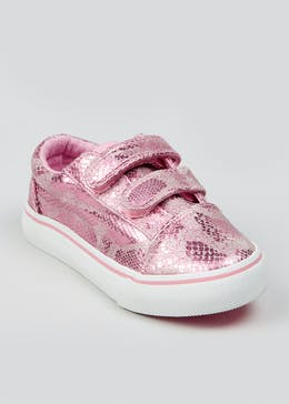 Girls Faux Snake Skin Canvas Trainers (Younger 4-12)