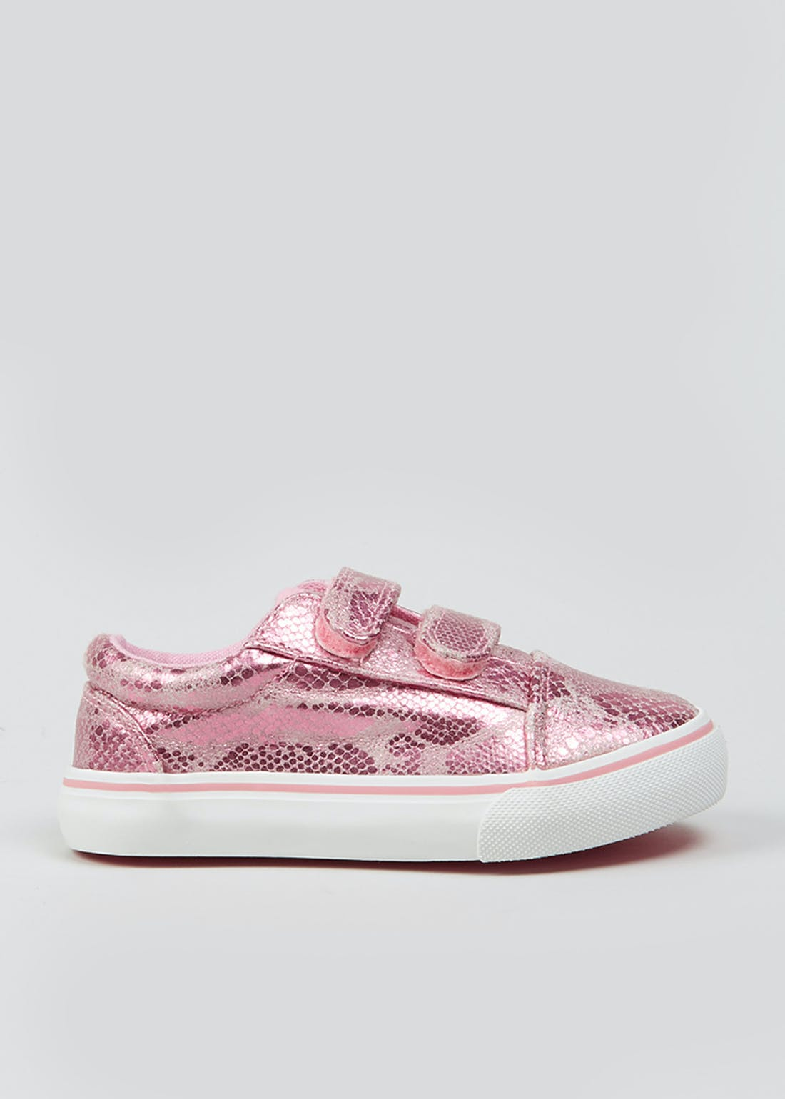 Girls Pink Faux Snake Skin Canvas Trainers (Younger 4-12)