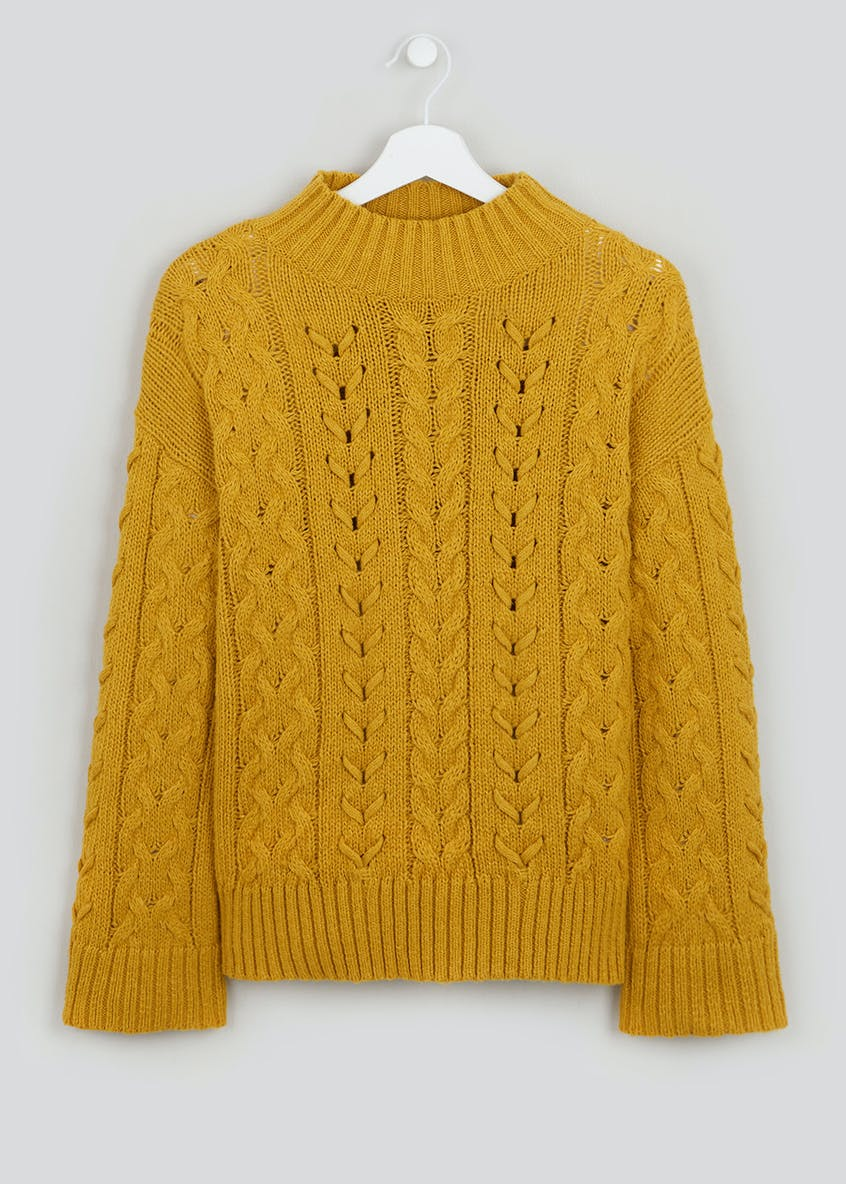 Flared Sleeve Funnel Neck Jumper