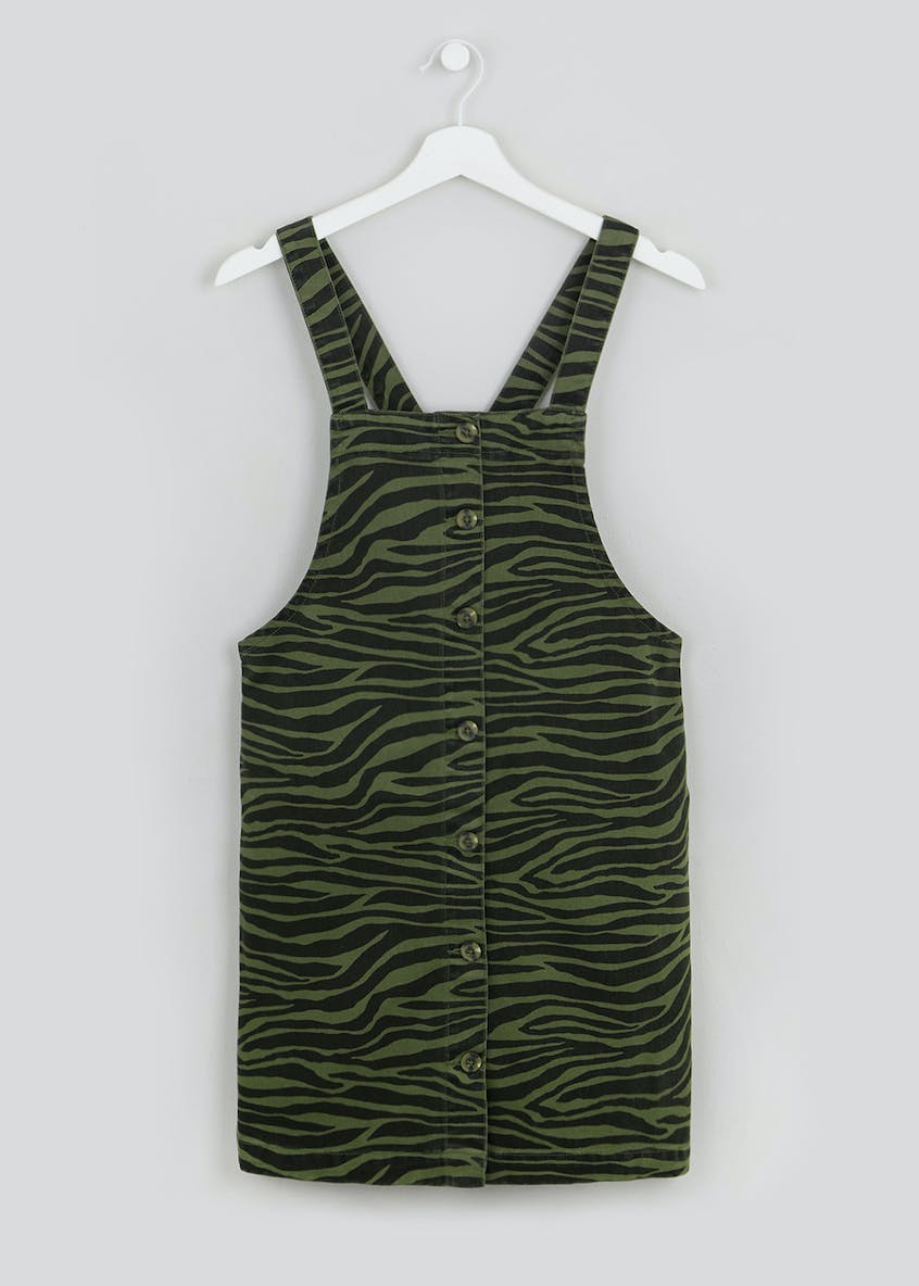 Zebra Print Button Front Pinafore Dress