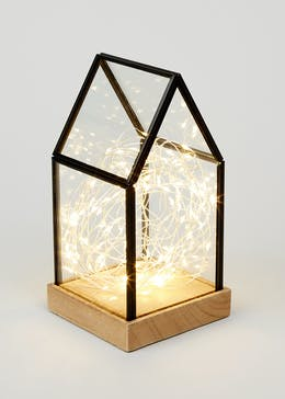 Miniature Glass House With Lights (22cm x 11.5cm x 11cm)