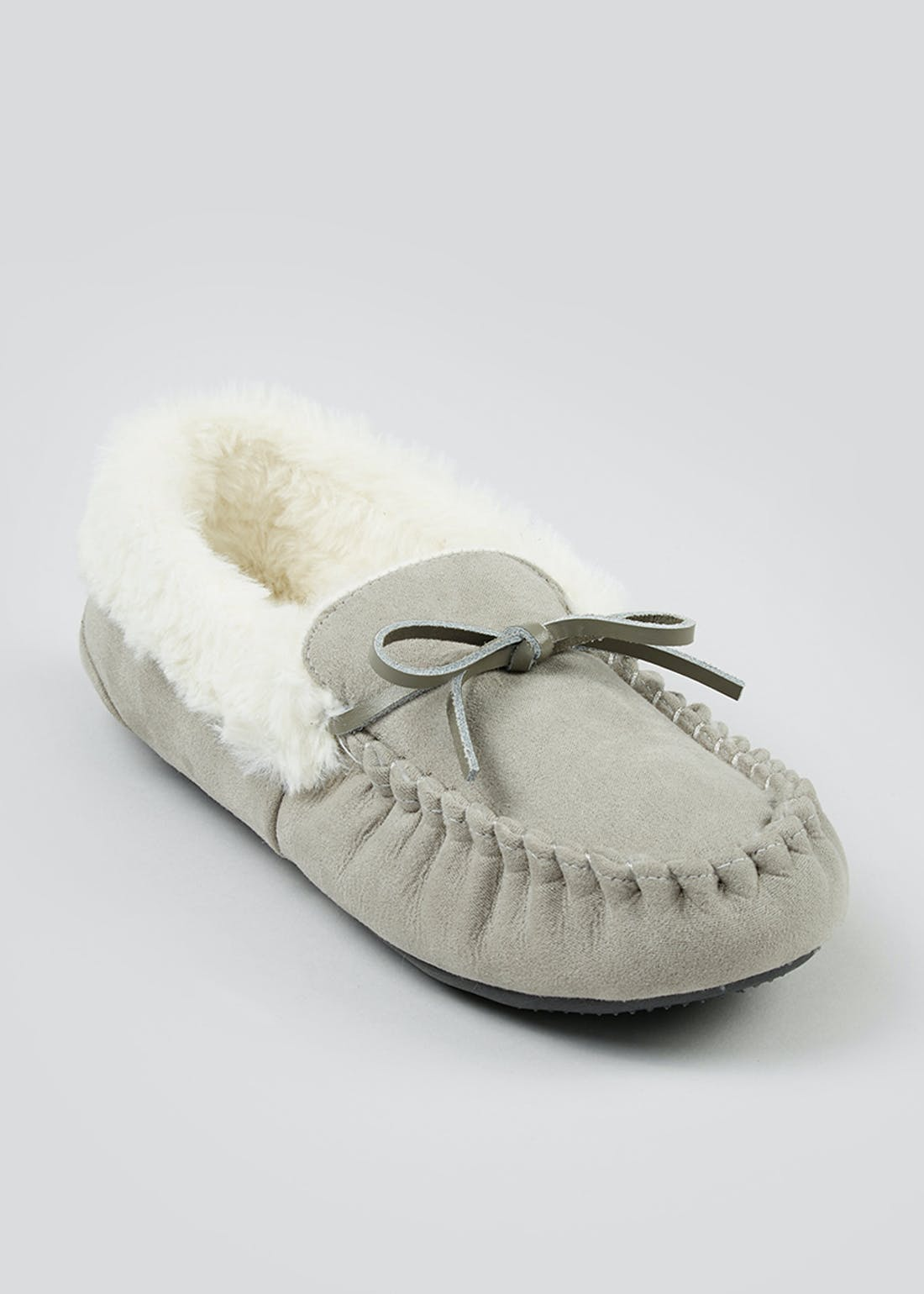 Grey Faux Fur Moccasin Slippers