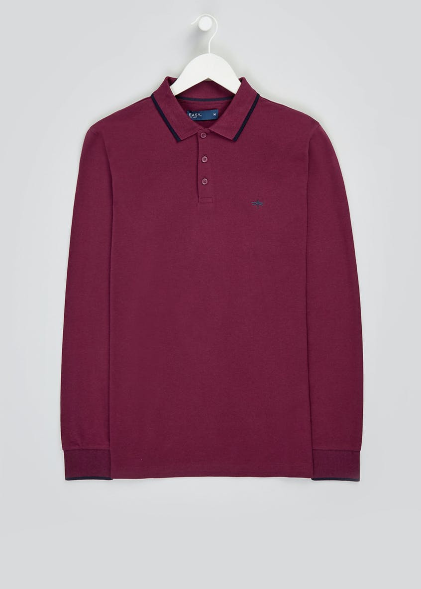 Burgundy Long Sleeve Polo Shirt