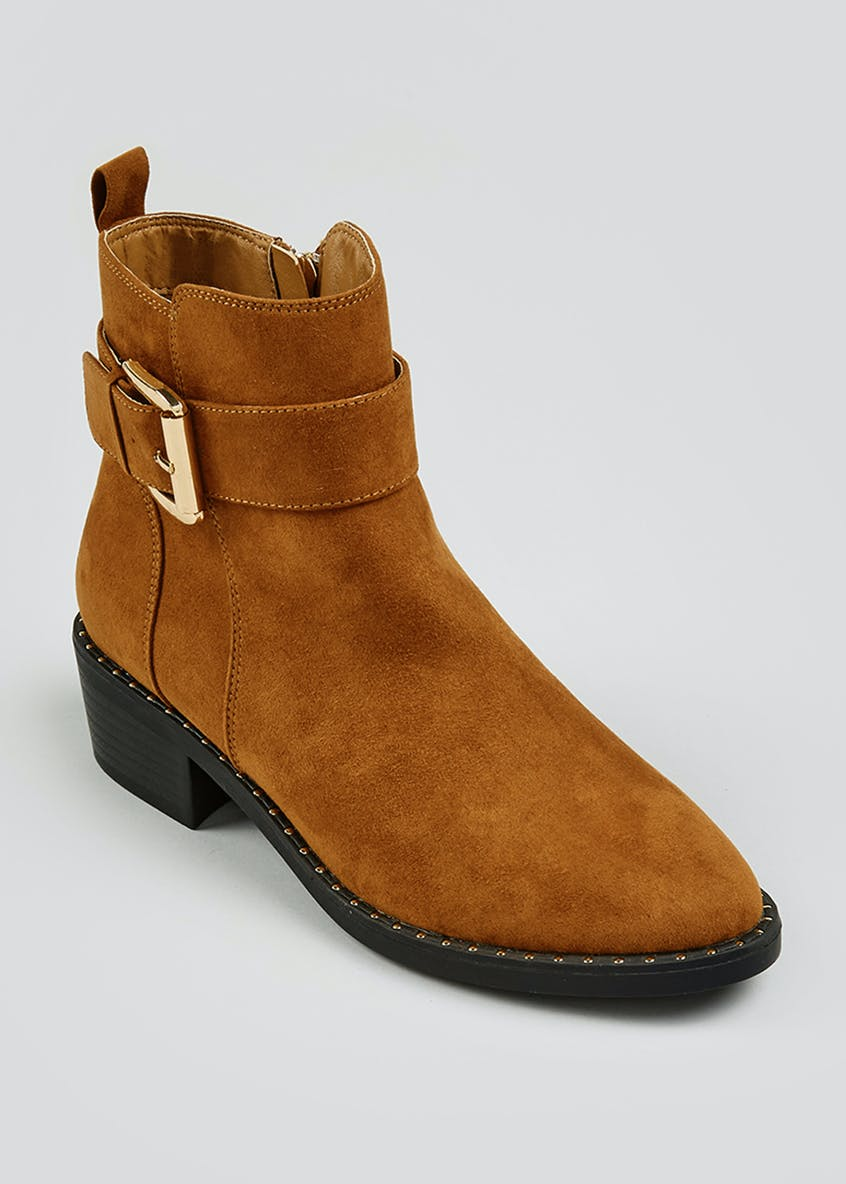 Tan Studded Buckle Ankle Boots