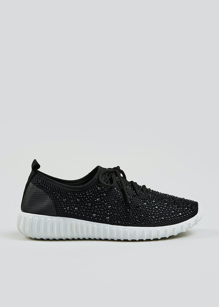 Black Diamante Trainers