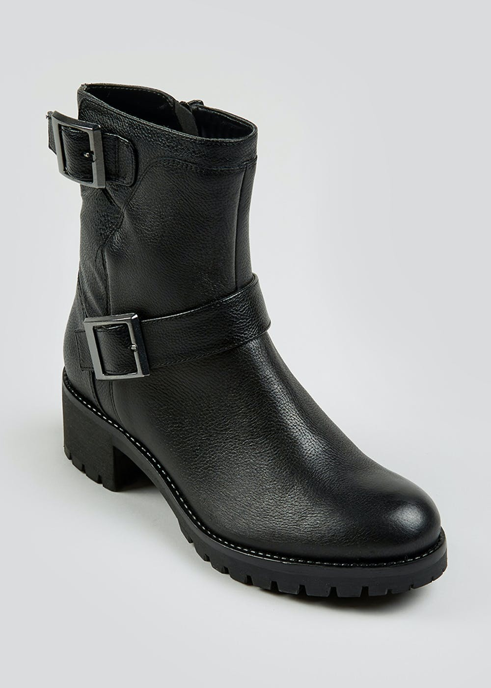 Soleflex Real Leather Biker Boots by Matalan