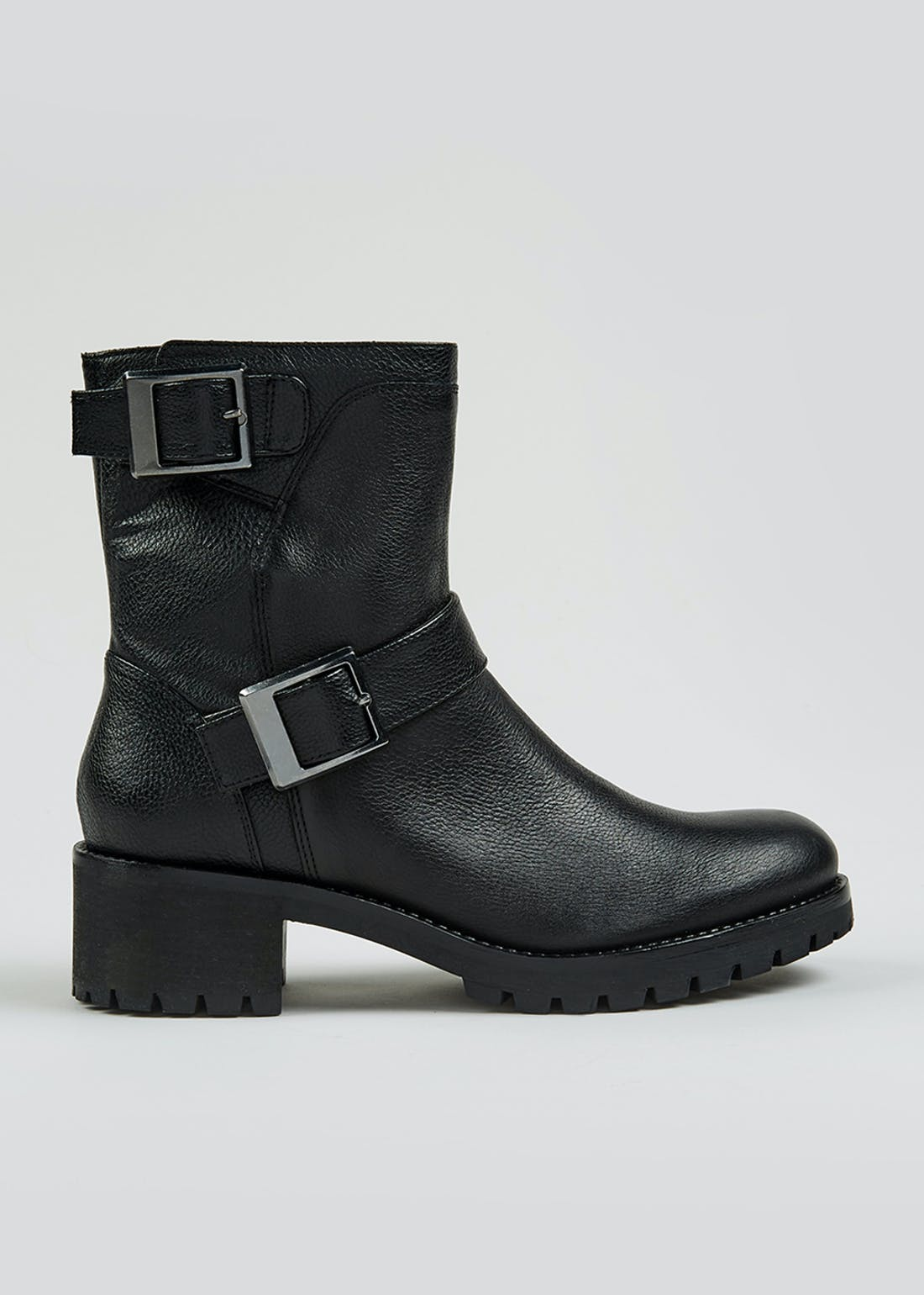 Soleflex Black Real Leather Biker Boots