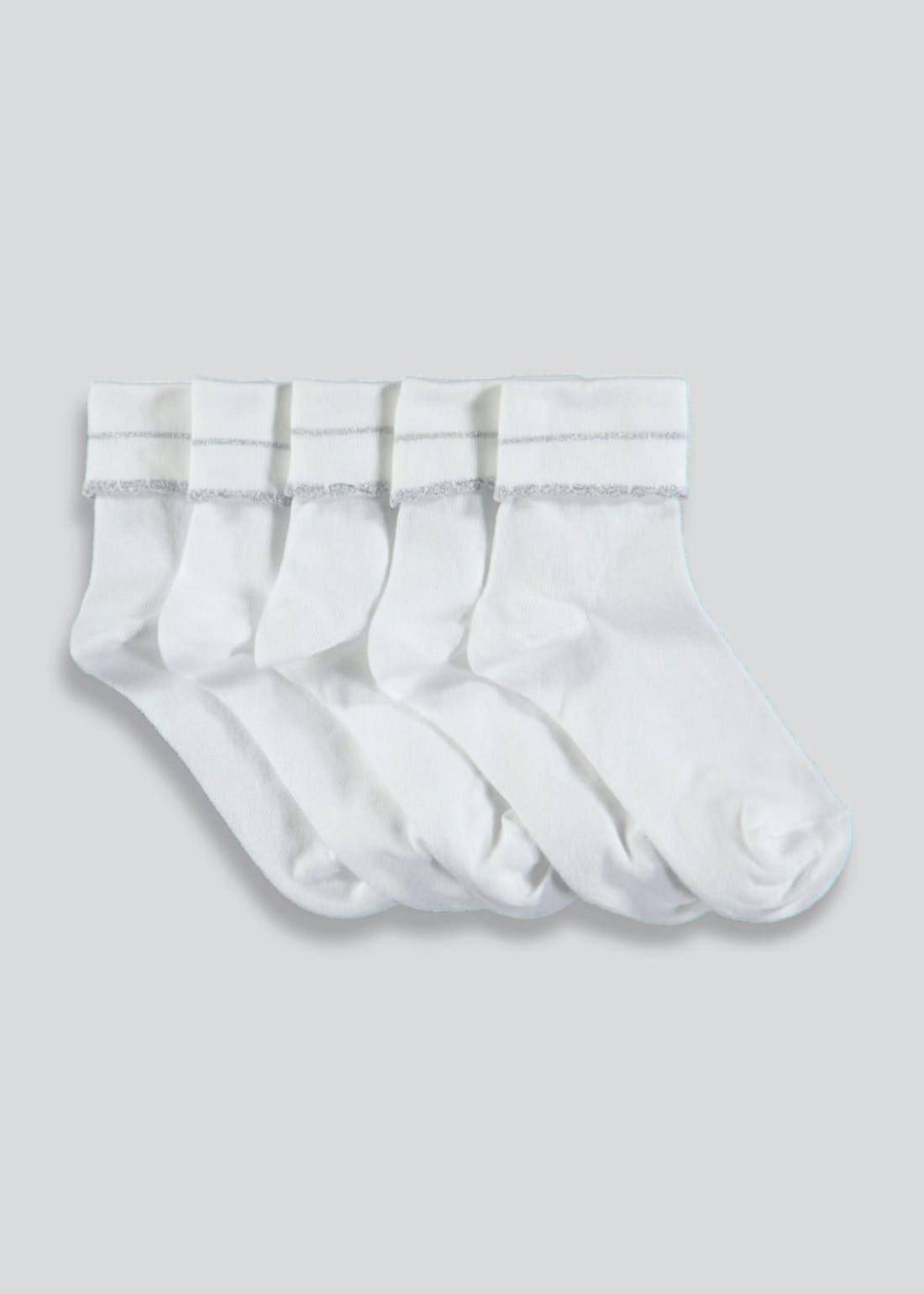 Girls 5 Pack Turn Over Socks (Younger 6-Older 5.5)