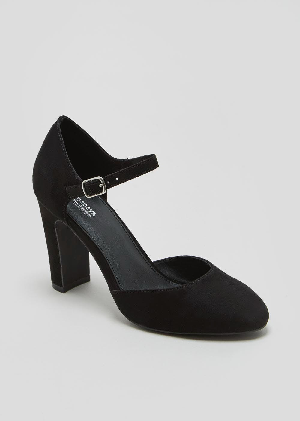 Two Part Round Toe Court Shoes – Black