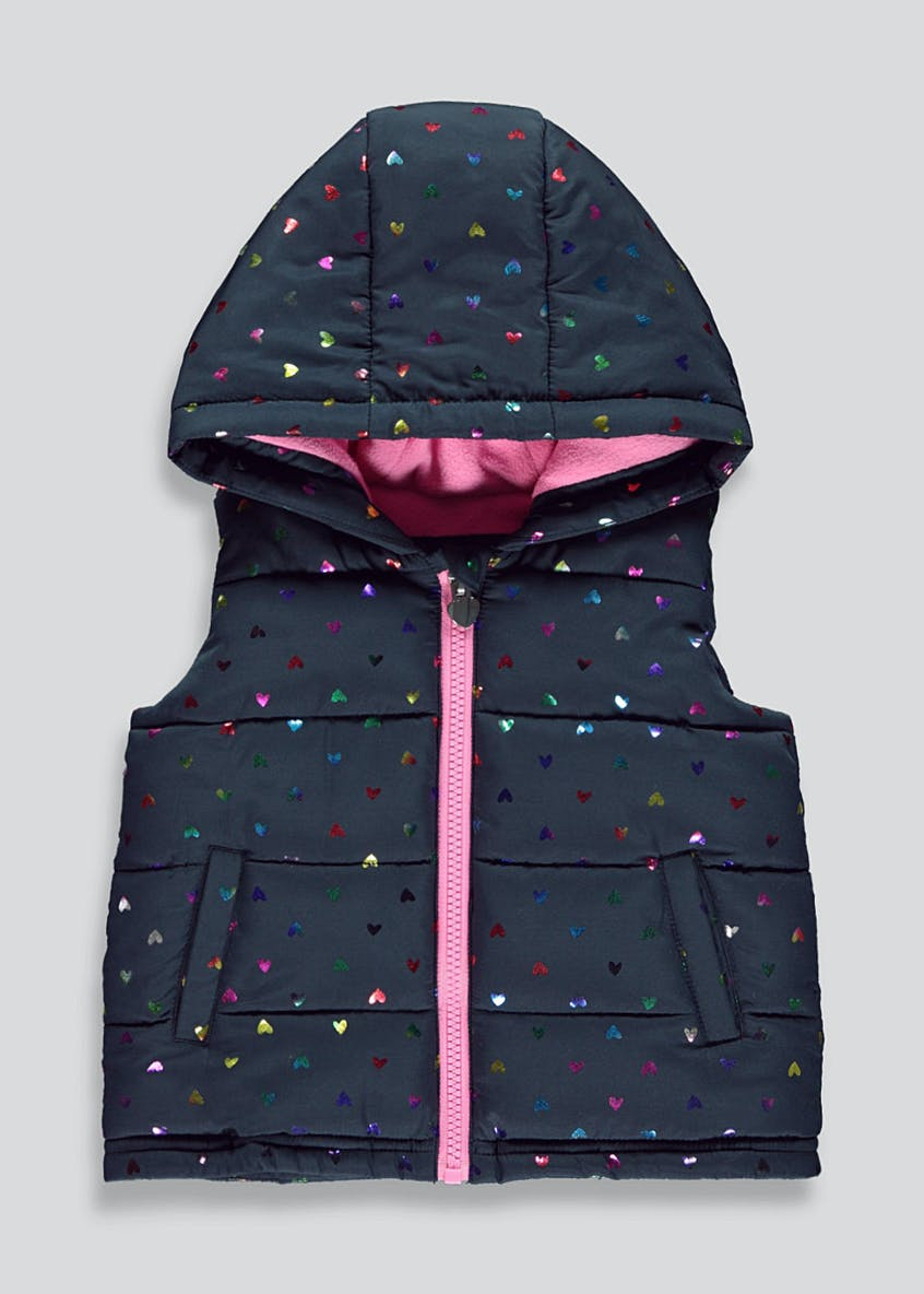 Girls Holographic Heart Padded Gilet (6mths-6yrs)