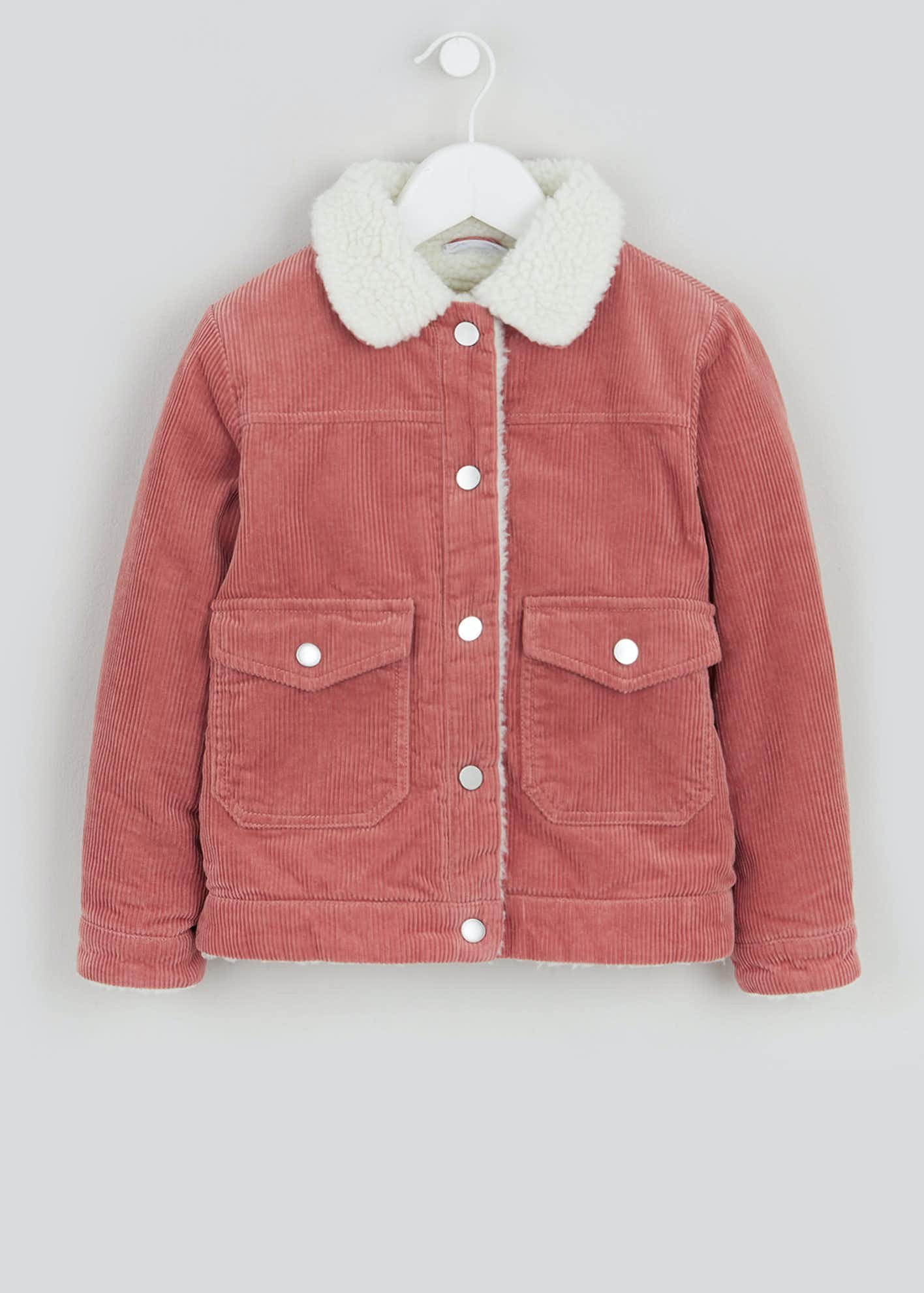 Girls Pink Borg Collar Cord Jacket (4-13yrs)