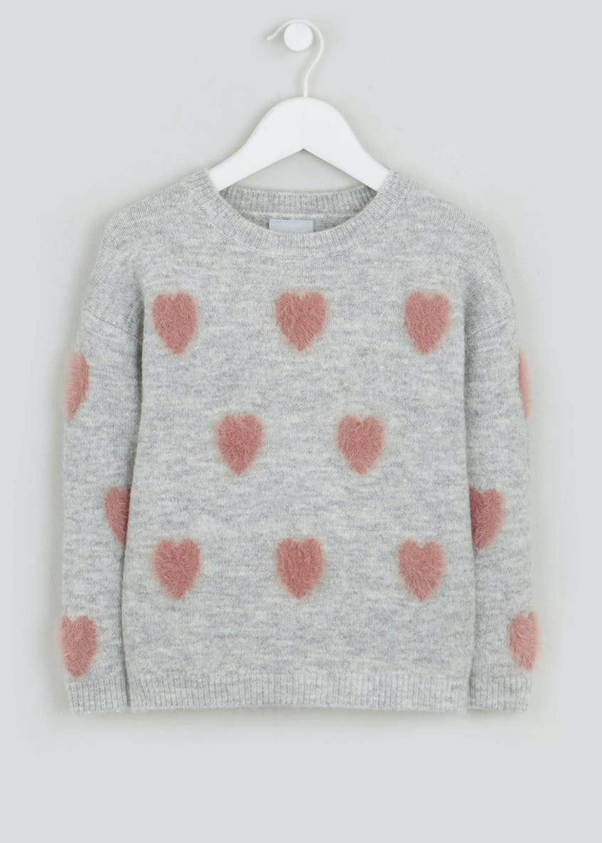 Girls Grey Knitted Jumper with Hearts (4-13yrs)