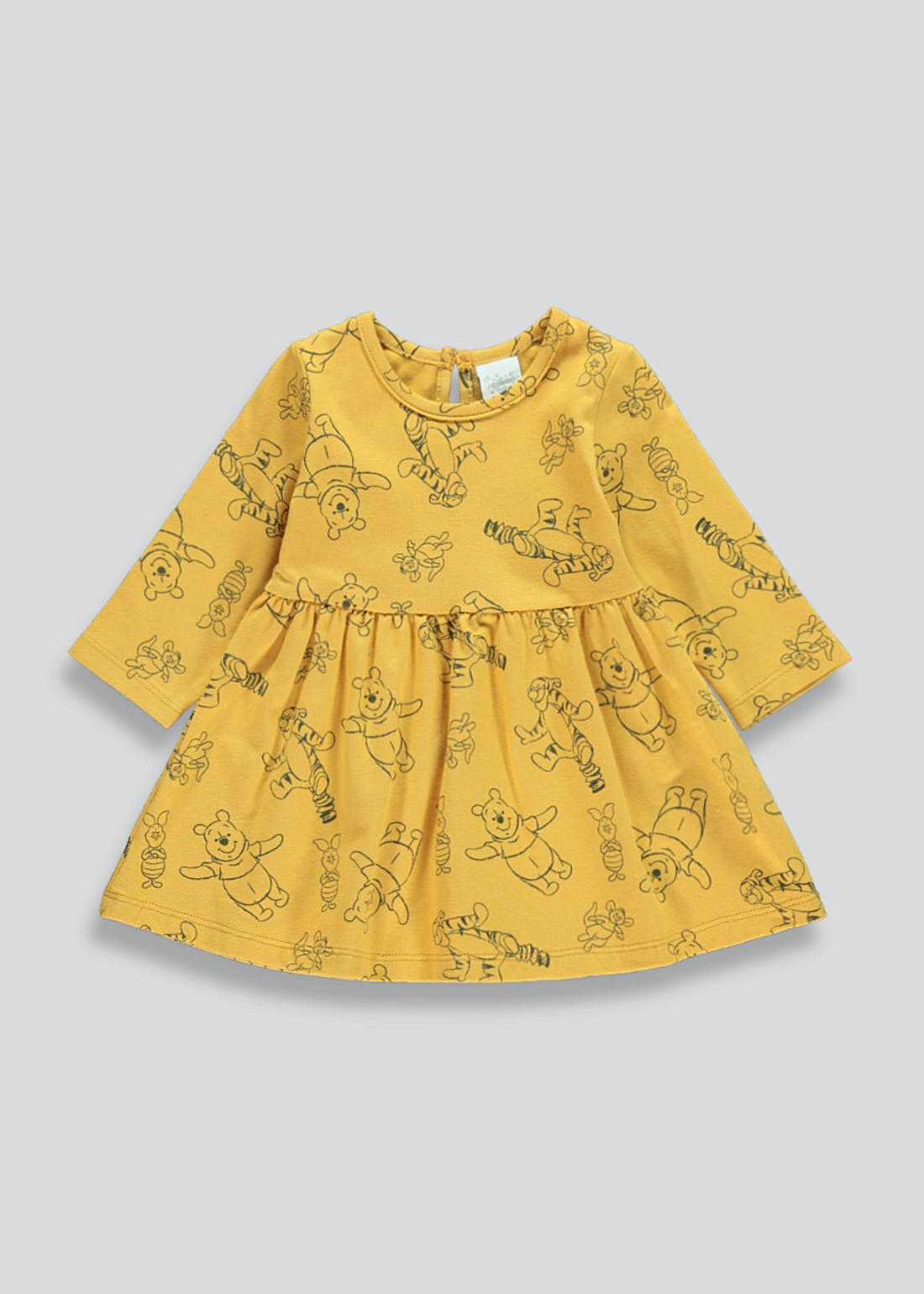 Girls Ochre Long Sleeve Winnie The Pooh Dress (Newborn-12mths)