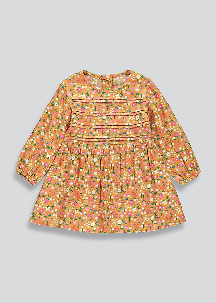Girls Orange Long Sleeve Floral Dress (9mths-6yrs)